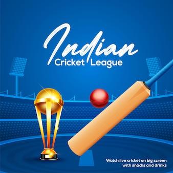 Concetto di campionato di cricket con mazza da cricket, palla e poster o striscione del trofeo della coppa vincente su sfondo blu dello stadio di cricket
