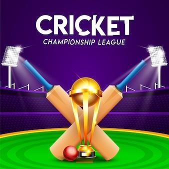 Concetto di campionato di campionato di cricket con mazza da cricket Vettore Premium