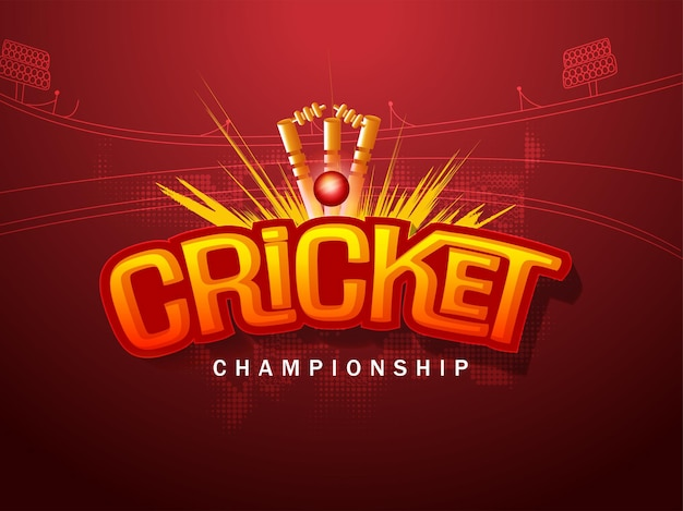 Design del manifesto del campionato di cricket con palla 3d che colpisce i ceppi di wicket su sfondo rosso mezzitoni dello stadio.