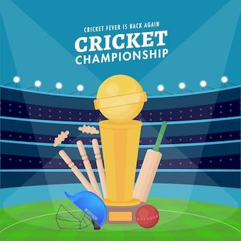 Poster di campionato di cricket con mazza, palla, casco, wickets e coppa del trofeo vincente su sfondo blu stadio.
