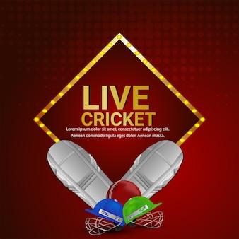 Fondo del torneo del campionato di cricket con illustrazione vettoriale