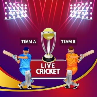 Sfondo della partita del torneo del campionato di cricket