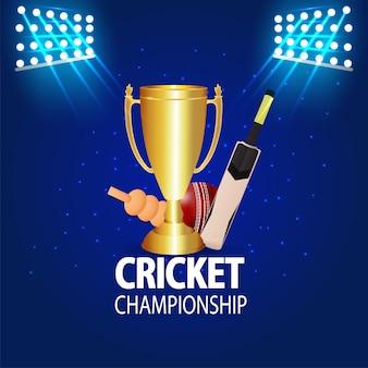 Sfondo di torneo di cricket chqampionship con trofeo d'oro