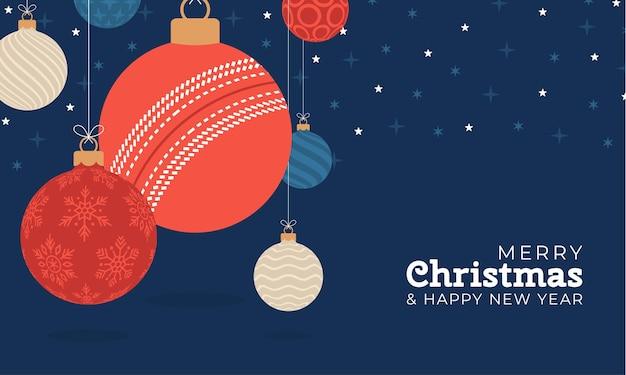 Cartolina d'auguri di natale di cricket. buon natale e felice anno nuovo fumetto piatto sport banner. palla da cricket come una palla di natale sullo sfondo. illustrazione vettoriale.