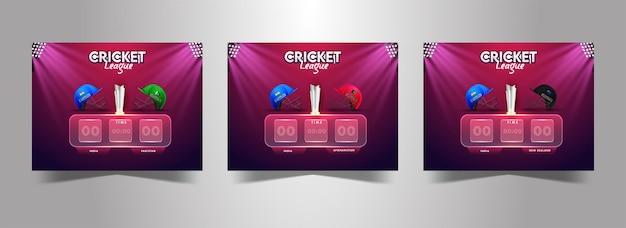 Tabellone segnapunti digitale di cricket della squadra di diversi paesi partecipanti con la coppa del trofeo d'argento 3d e le luci dello stadio su sfondo rosa e viola in tre opzioni.