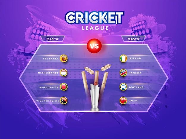 Concetto di cricket league con la squadra partecipante a vs b, distintivo della bandiera di diversi paesi e coppa del trofeo d'argento 3d su sfondo viola dello stadio del tratto di pennello.