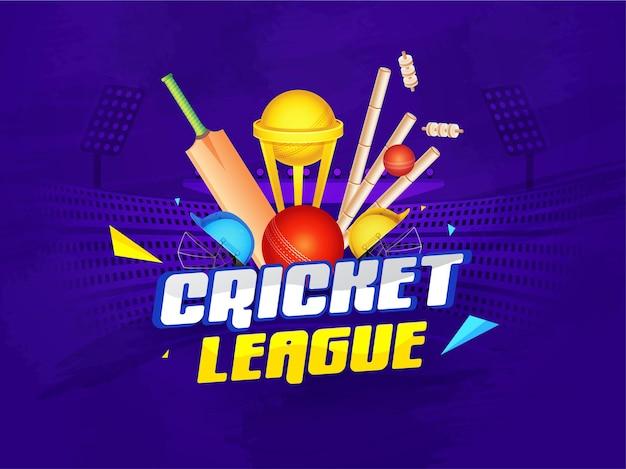 Concetto di lega di cricket con attrezzature realistiche e coppa del trofeo d'oro sulla vista viola dello stadio.