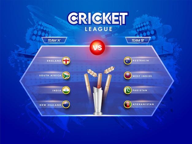 Progettazione del manifesto della lega di cricket con la squadra partecipante a vs b, distintivo della bandiera di diversi paesi e coppa del trofeo d'argento 3d su sfondo blu dello stadio del tratto di pennello.