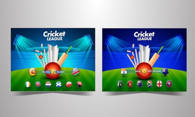 Bandiera dei paesi partecipanti della partita di cricket con attrezzature da torneo 3d e coppa del trofeo d'argento sullo sfondo dello stadio in due opzioni.