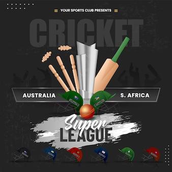 Calendario delle partite di cricket tra australia vs sud africa con altri paesi partecipanti caschi e attrezzature da torneo 3d su sfondo nero.