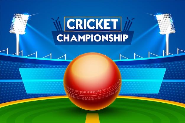 Concetto di programma partita di cricket con illustrazione palla lucida sullo stadio con area segnaposto di testo.
