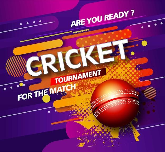 Giocatore di cricket design creativo di poster o banner con sfondo per il campionato di cricket
