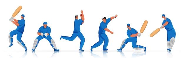 Squadra di giocatore di cricket in diverse pose di azione.