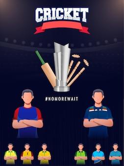 Modello di cricket o design di volantino con giocatore di cricket senza volto dei paesi partecipanti e coppa del trofeo d'argento 3d su sfondo blu dello stadio.