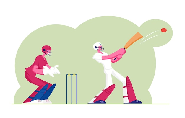 Concetto di torneo di cricket. battitore in uniforme professionale che colpisce la palla con la mazza, sportivi che giocano gioco tradizionale, piatto del fumetto