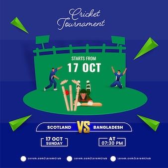 Torneo di cricket match tra scozia vs bangladesh con run out cricketer sul parco giochi verde e blu.