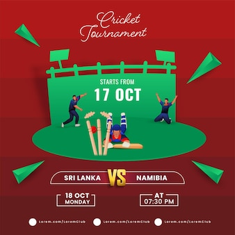 Torneo di cricket match tra sri lanka vs namibia con run out cricketer ed elementi triangolo 3d sul parco giochi rosso e verde.