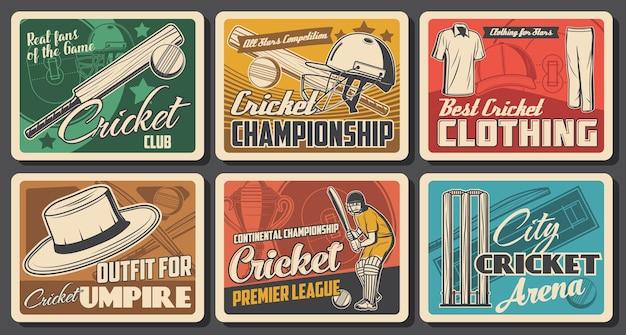 Poster vintage di cricket con palloni da gioco, mazze, wickets e giocatore di squadra sul campo di gioco. battitore in divisa, guanti, caschi e paragambe, coppe del trofeo del campionato, cappello da sole e berretti