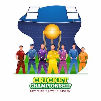 Carattere di giocatori di cricket in abbigliamento di colore diverso con coppa trofeo vincente su sfondo stadio astratto per campionato di cricket.