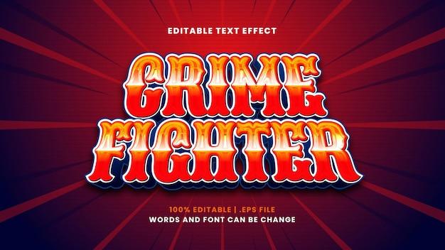 Effetto di testo modificabile combattente del crimine in moderno stile 3d