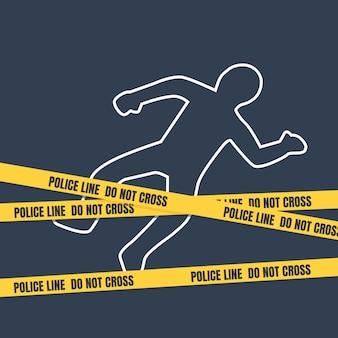 Scena del crimine con contorno del corpo.