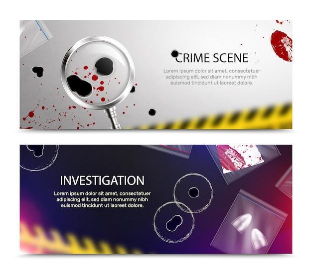 Striscioni orizzontali di detective criminalisti con macchie di sangue in primo piano realistiche e fori di proiettile