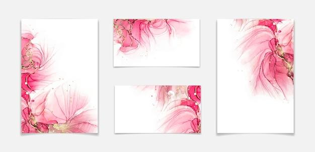 Sfondo acquerello liquido rosa cremisi e rosso con pennellate di glitter dorati