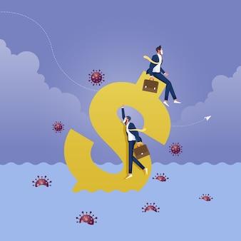 Crisi da covid coronavirus o economia di recessione e concetto di crollo finanziario