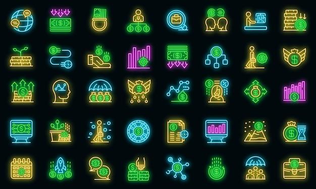 Set di icone del gestore di crisi. delineare l'insieme delle icone vettoriali del gestore delle crisi colore neon su nero