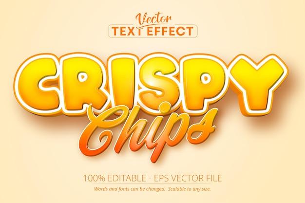 Testo di patatine croccanti, effetto di testo modificabile in stile cartone animato