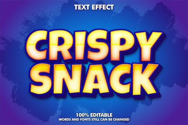 Effetto carattere adesivo modificabile snack croccante concetto adesivo etichetta snack e cibo