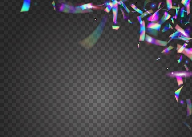 Cristal tinsel. foglio surreale. arte volante. ologramma glitter. effetto retrò blu. bagliore di carnevale. bagliore di festa. sfondo di vaporwave lucido. tinsel cristal viola