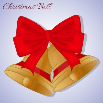 Campane di cristmas con fiocco rosso. stile cartoon semplice. illustrazione vettoriale