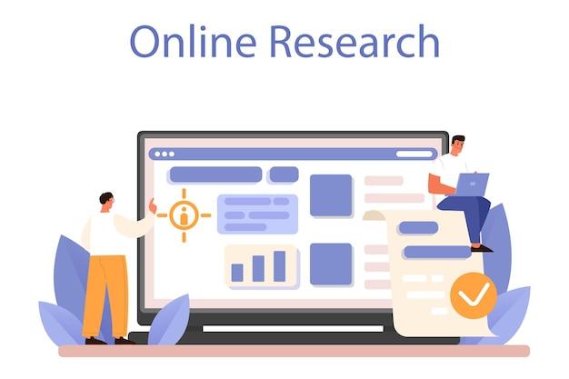 Crm, servizio o piattaforma online di gestione delle relazioni con i clienti. attrazione e guida del cliente. analisi dell'esperienza del cliente. ricerca in linea. illustrazione vettoriale piatta