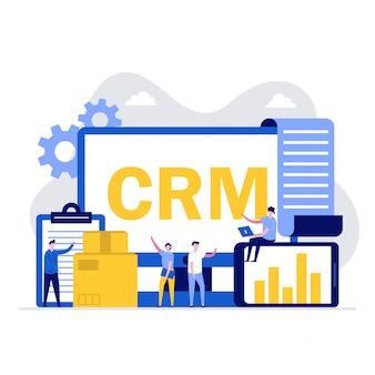 Concetto di illustrazione del software crm con personaggi. gestione delle relazioni con i clienti.