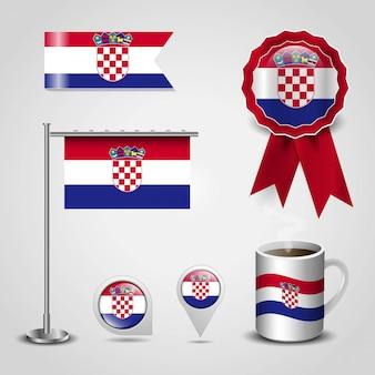 Vettore di progettazione della bandiera della croazia