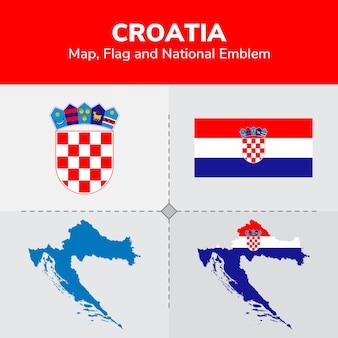 Mappa della croazia, bandiera e emblema nazionale