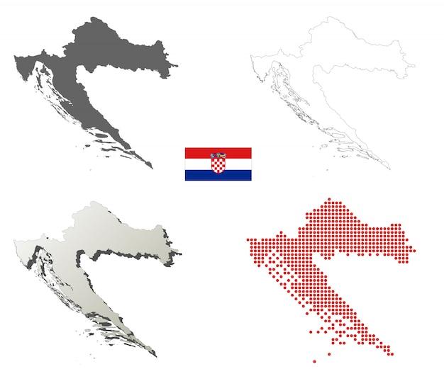 Insieme di mappa di contorno vettoriale croazia