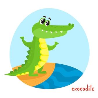 Coccodrillo in stile cartone animato.