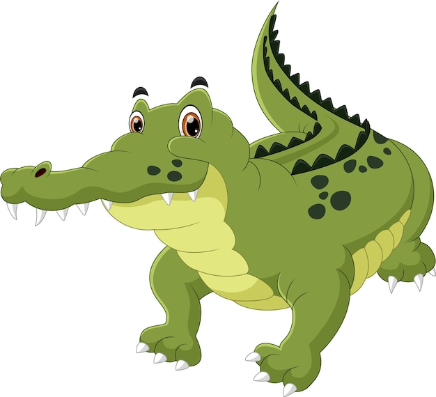 Cartone animato coccodrillo su sfondo bianco