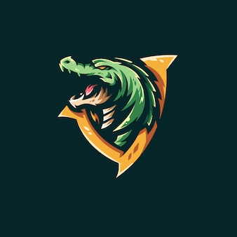 Modello logo coccodrillo e-sports team