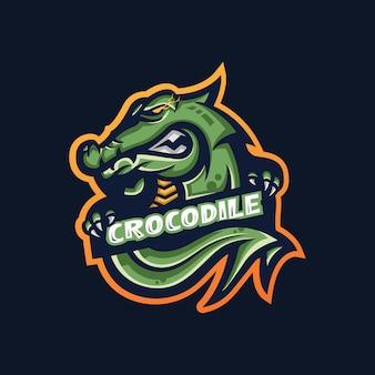 Modello di logo della mascotte di gioco di coccodrillo esport per la squadra di streamer.