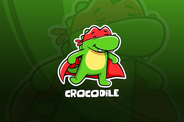 Design mascotte di coccodrillo esport. supereroe