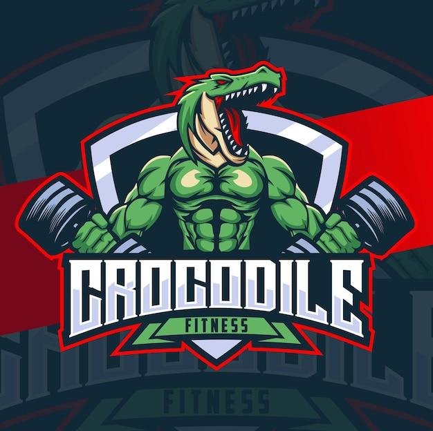 Design del personaggio mascotte fitness coccodrillo con badge muscolare e bilanciere