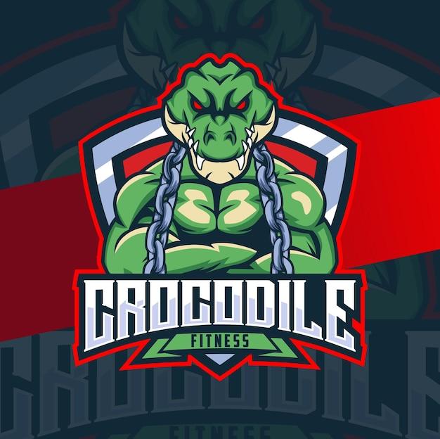 Design del personaggio mascotte fitness coccodrillo con badge muscolare e catena