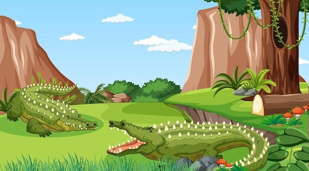 Coccodrillo nella foresta in scena diurna con molti alberi
