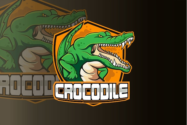 Logo esport della mascotte del giocatore di coccodrillo