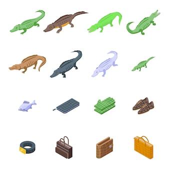 Set di icone di coccodrillo. set isometrico di icone di coccodrillo per il web design isolato su sfondo bianco