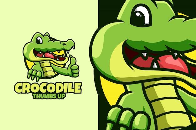 Modello di logo di coccodrillo con pollice in alto posa