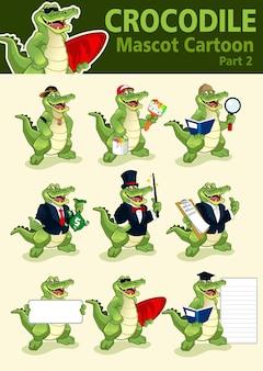 Fumetto della mascotte del coccodrillo nel vettore
